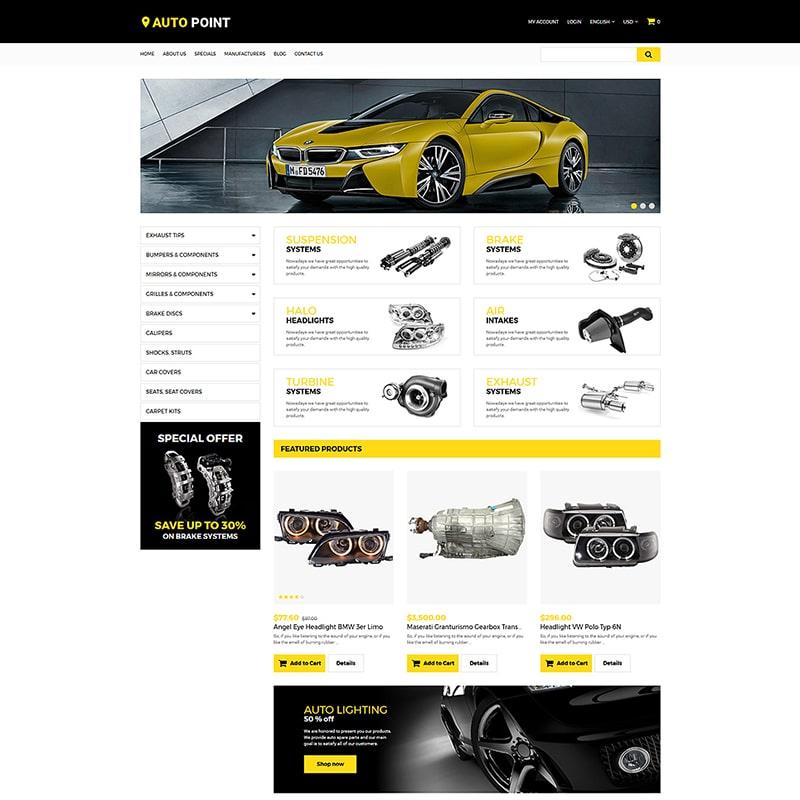 Адаптивный OpenCart шаблон сайта автомобильных запчастей