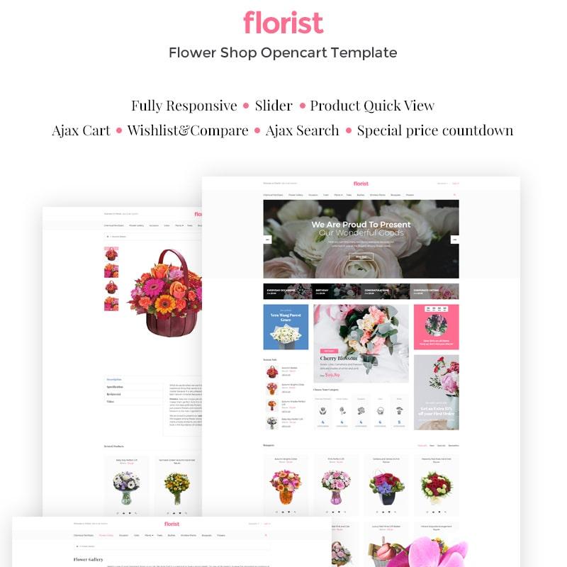 OpenCart шаблон Flower Shop Responsive