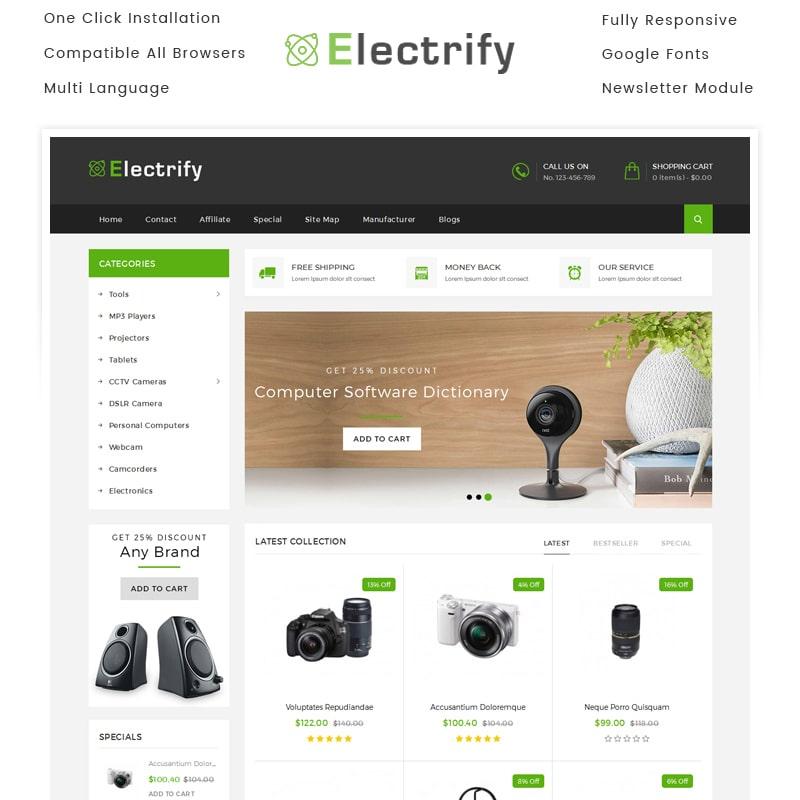 OpenCart шаблон Electrify Store