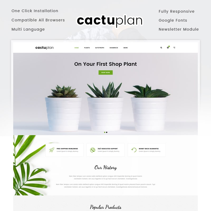 OpenCart шаблон Cactuplan Plant Store