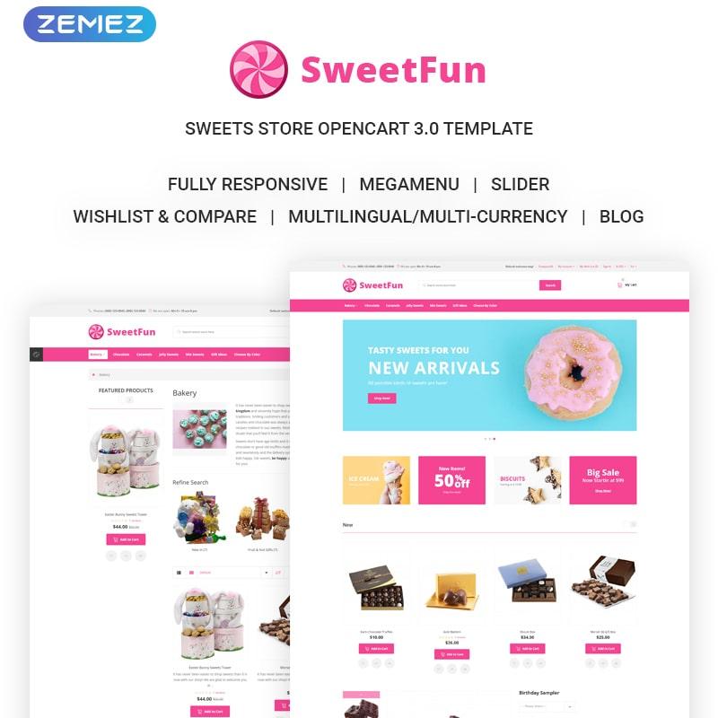 OpenCart шаблон SweetFun - Minimalistic Sweets Online Store