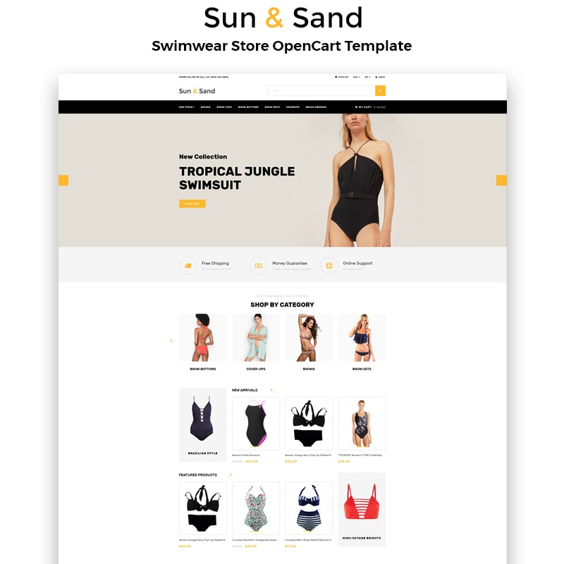 OpenCart шаблон Sun & Sand - Swimwear eCommerce Clean