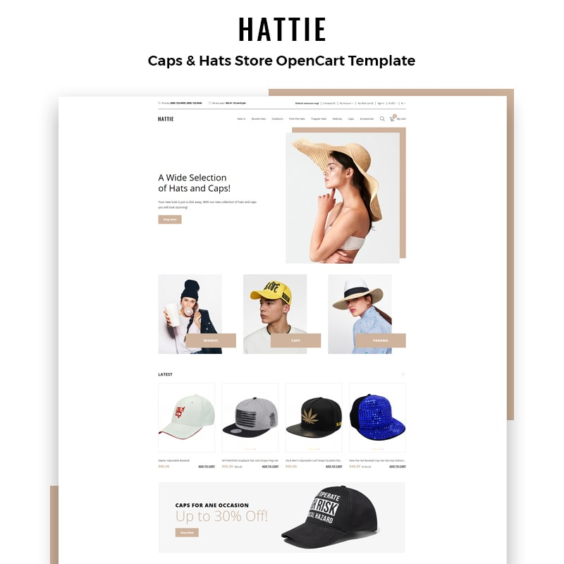 OpenCart шаблон Hattie - Fashion Multipage Clean