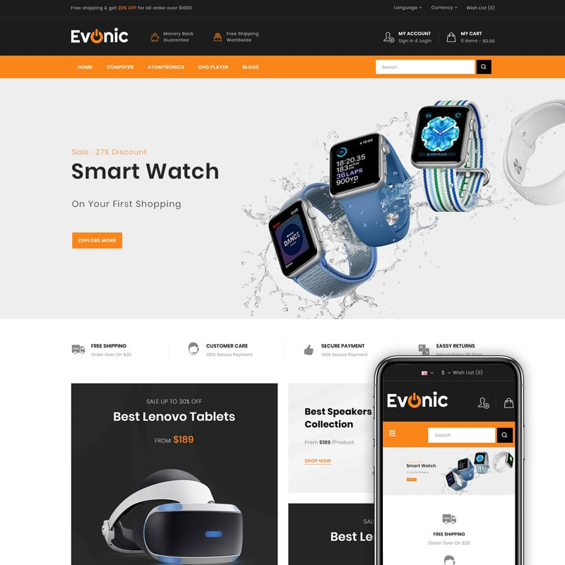 OpenCart шаблон Evonic - Multipurpose Shop