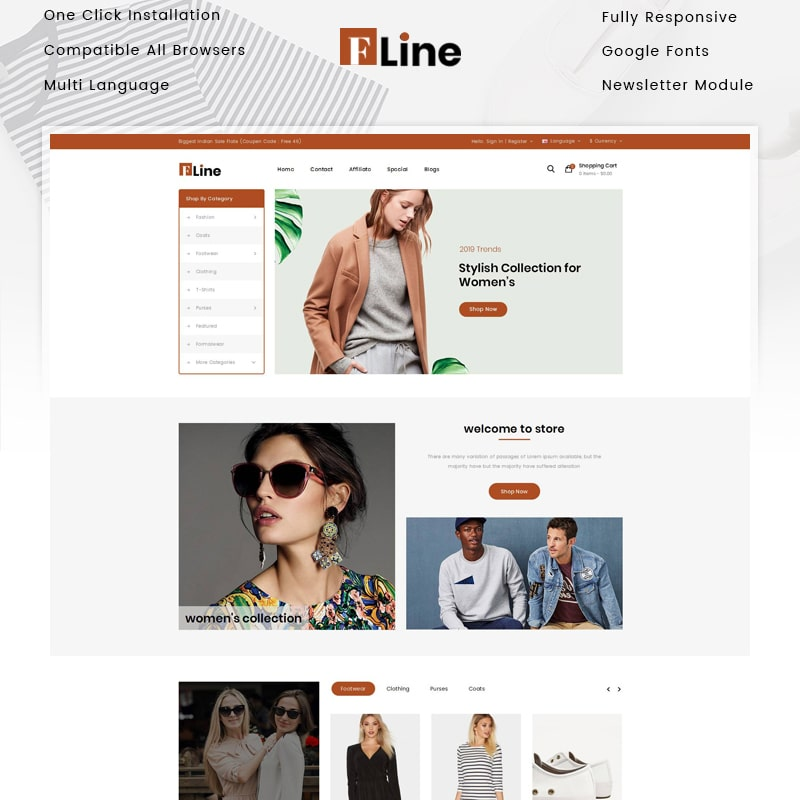 OpenCart шаблон FLine - Fashion Store