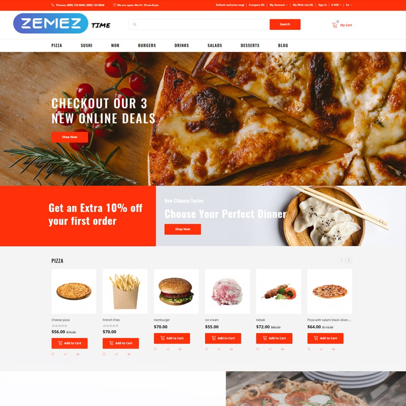 OpenCart шаблон Yammy Time - Food Delivery Store Modern