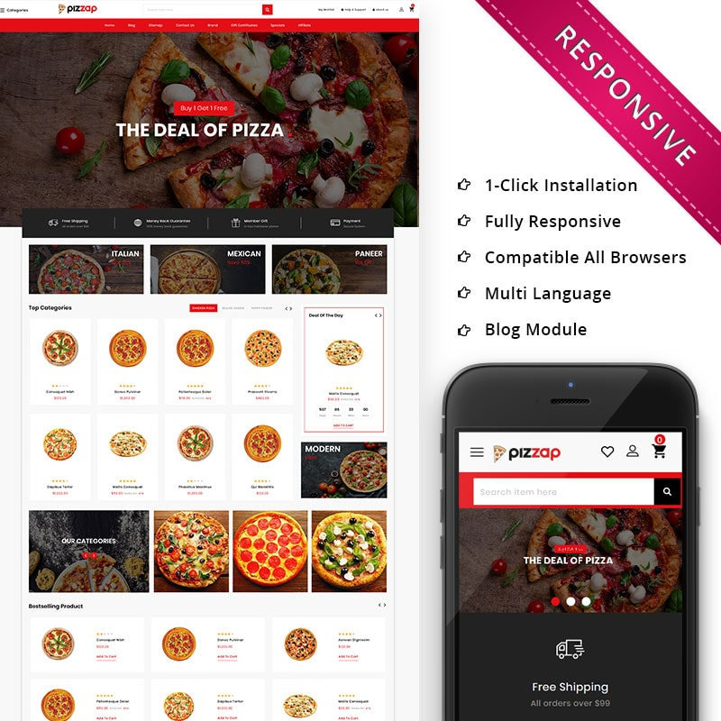 OpenCart шаблон Pizzap - The Pizza Store