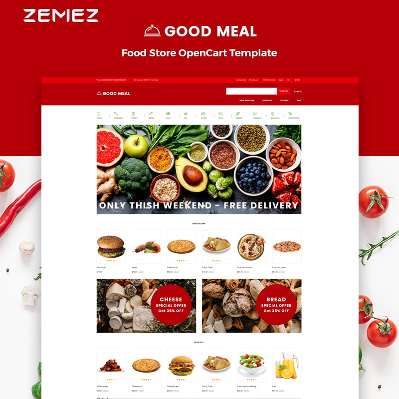 OpenCart шаблон Good Meal - Food Store Multipage Creative