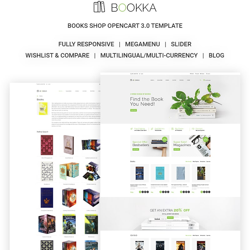 OpenCart шаблон BOOKKA - Books Shop