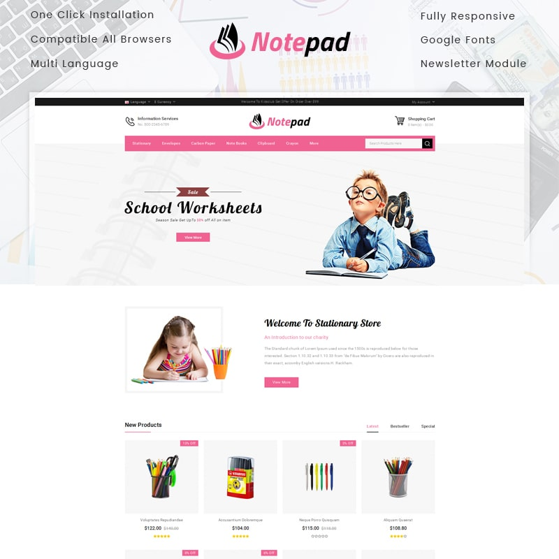 OpenCart шаблон NotePad - Stationary Store