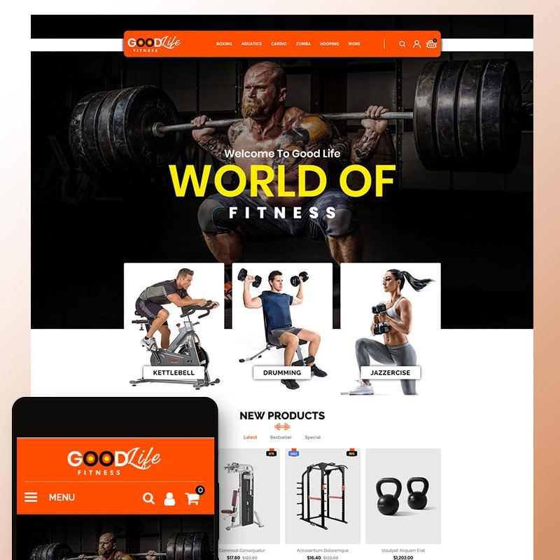 OpenCart шаблон GoodLife Fitness - Online Store