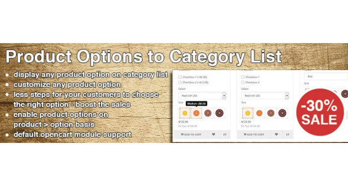Product Options to Category List