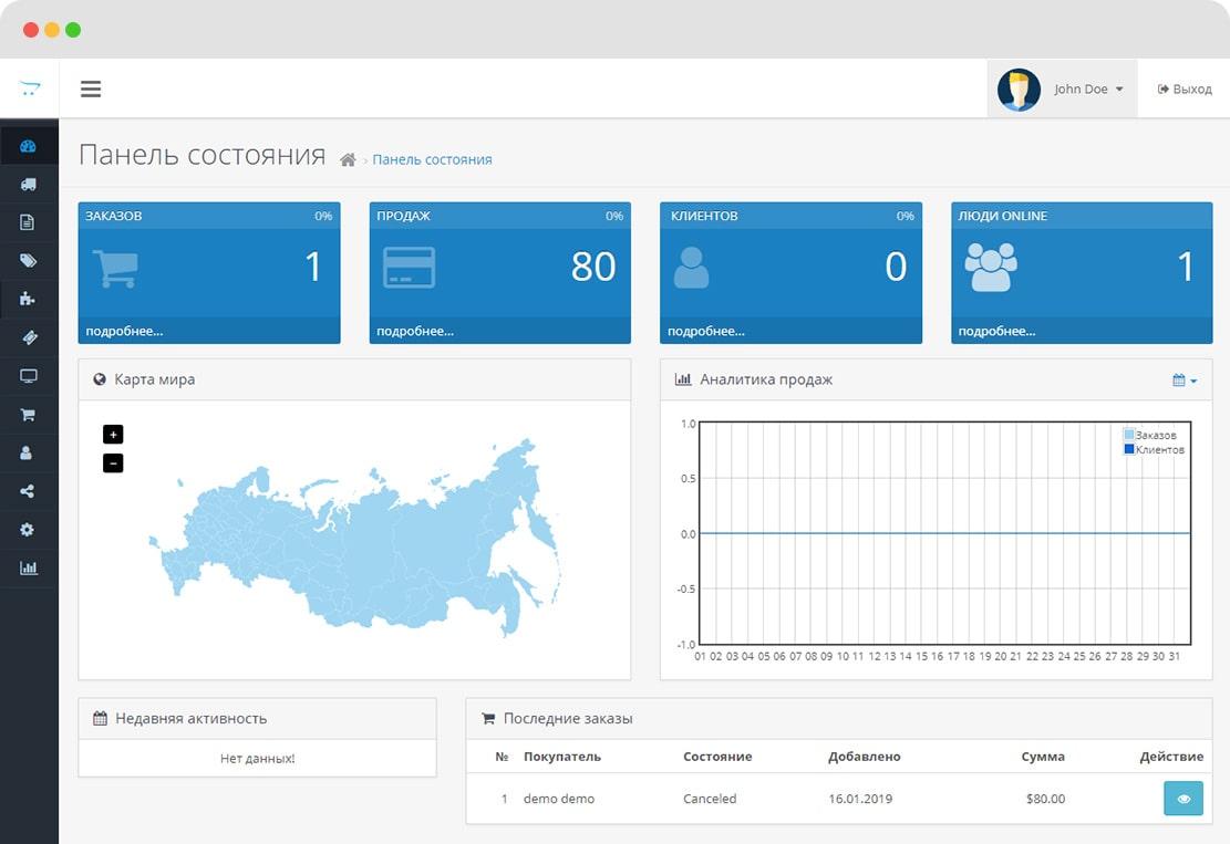 Модуль карта России для OpenCart