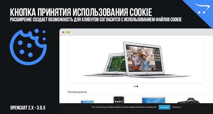 Кнопка принятия использования Cookie для OpenCart