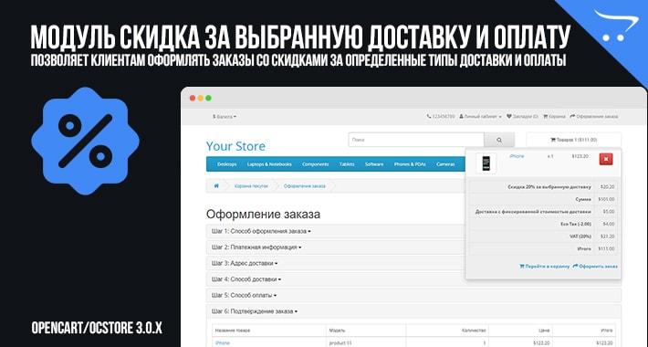 Скидка за выбранную доставку и оплату в OpenCart